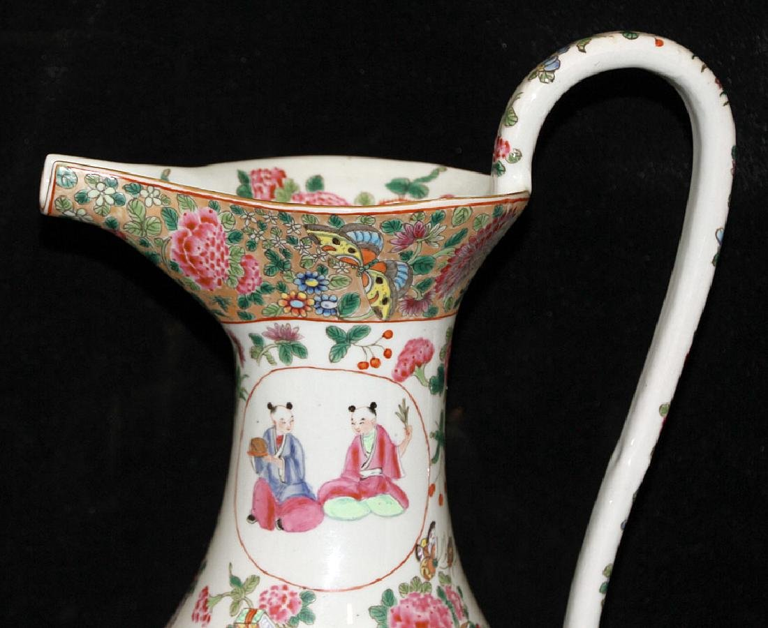 Chinese Export Porcelain Rose Medallion Pitcher - 4