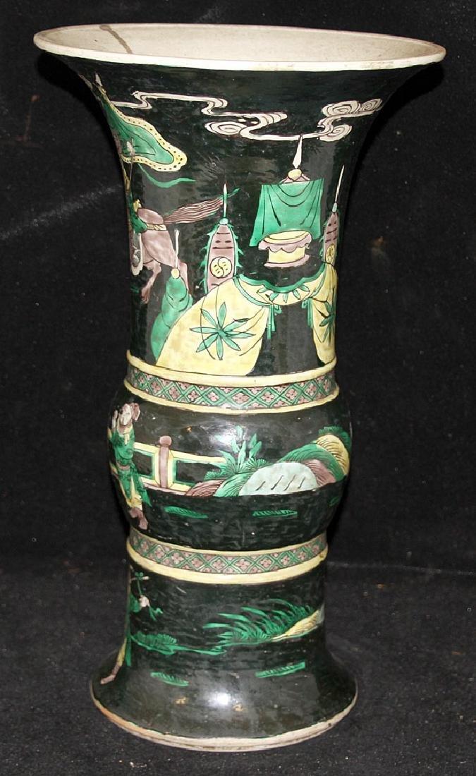 Chinese Famille Noir Porcelain Vase - 3