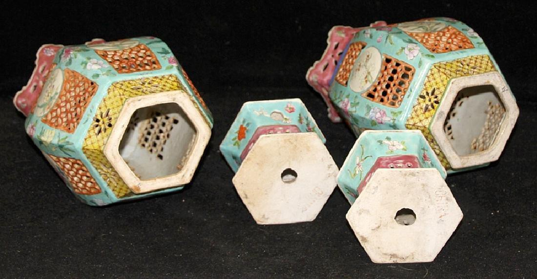 Pair of Chinese Porcelain Lanterns - 5