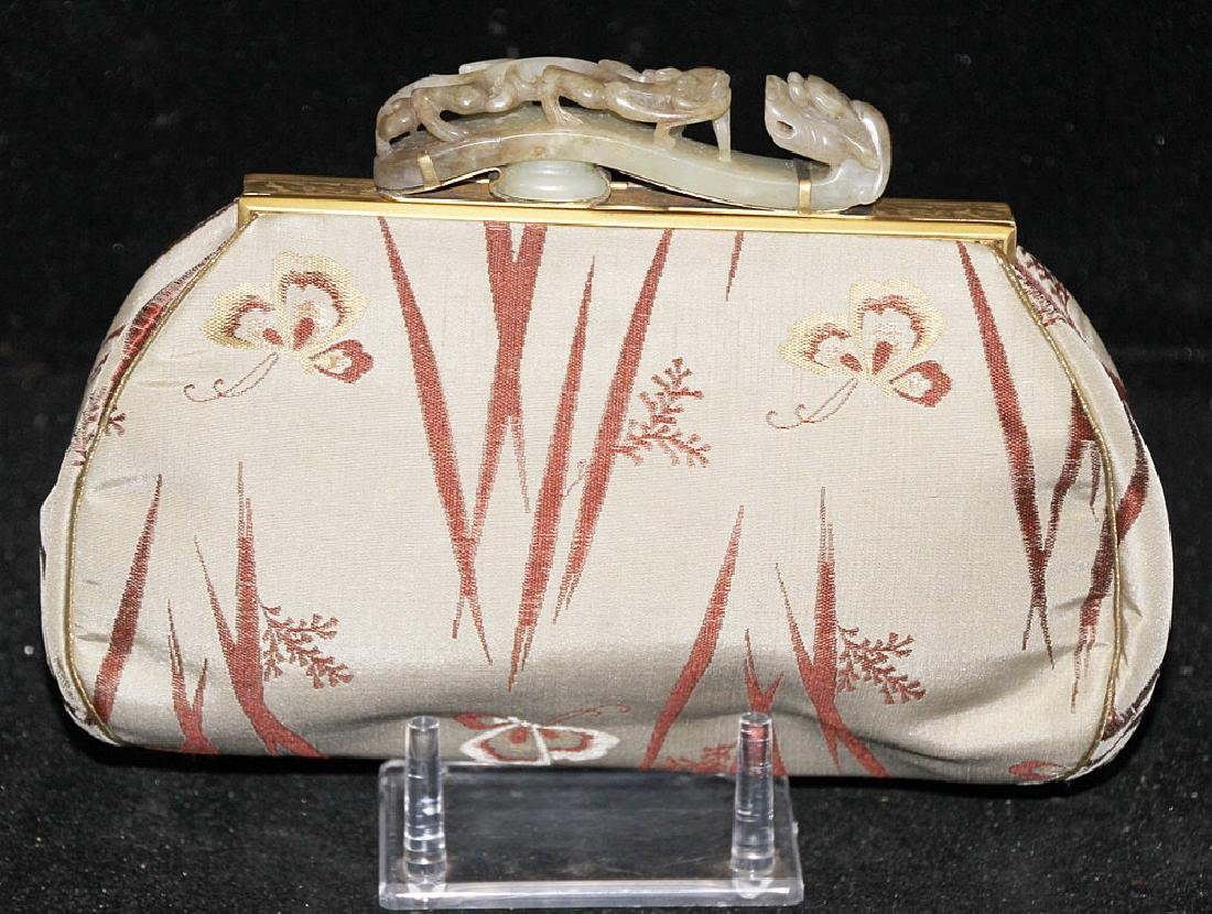 Chinese Silk Purse with Carved Jade Buckle Handle