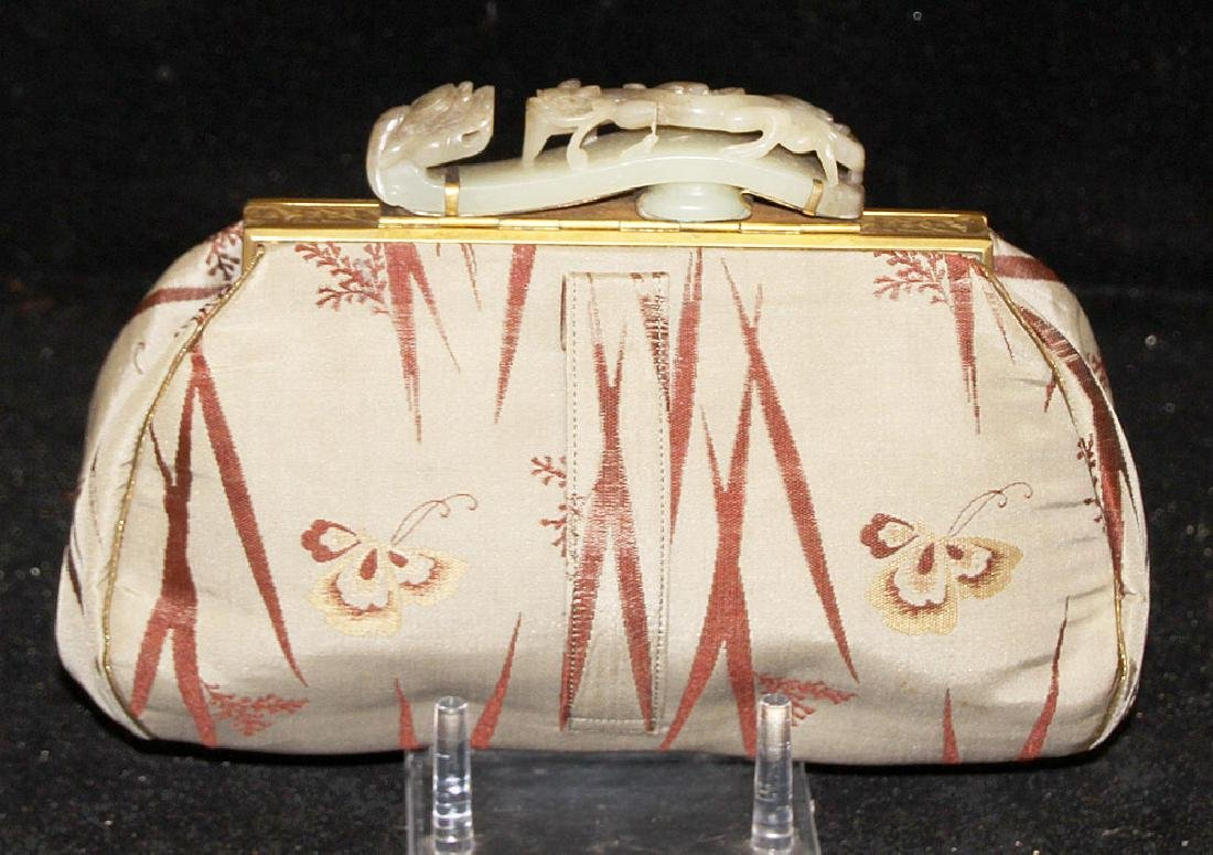 Chinese Silk Purse with Carved Jade Buckle Handle - 2
