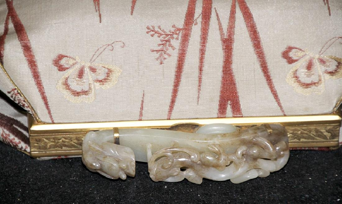 Chinese Silk Purse with Carved Jade Buckle Handle - 5