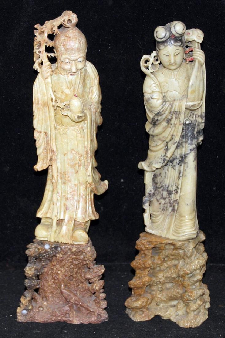 Two Chinese Carved Soapstone Figures