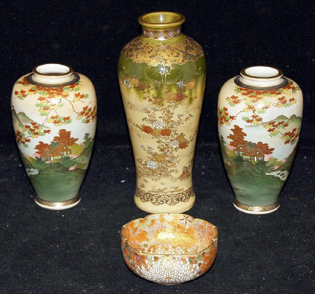 Four Pieces of Japanese Satsuma Porcelain
