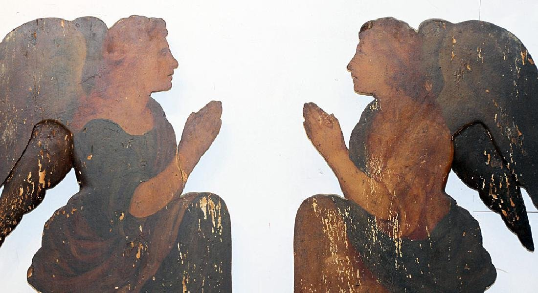 Pair of Italian Painted Altarpiece Elements - 2