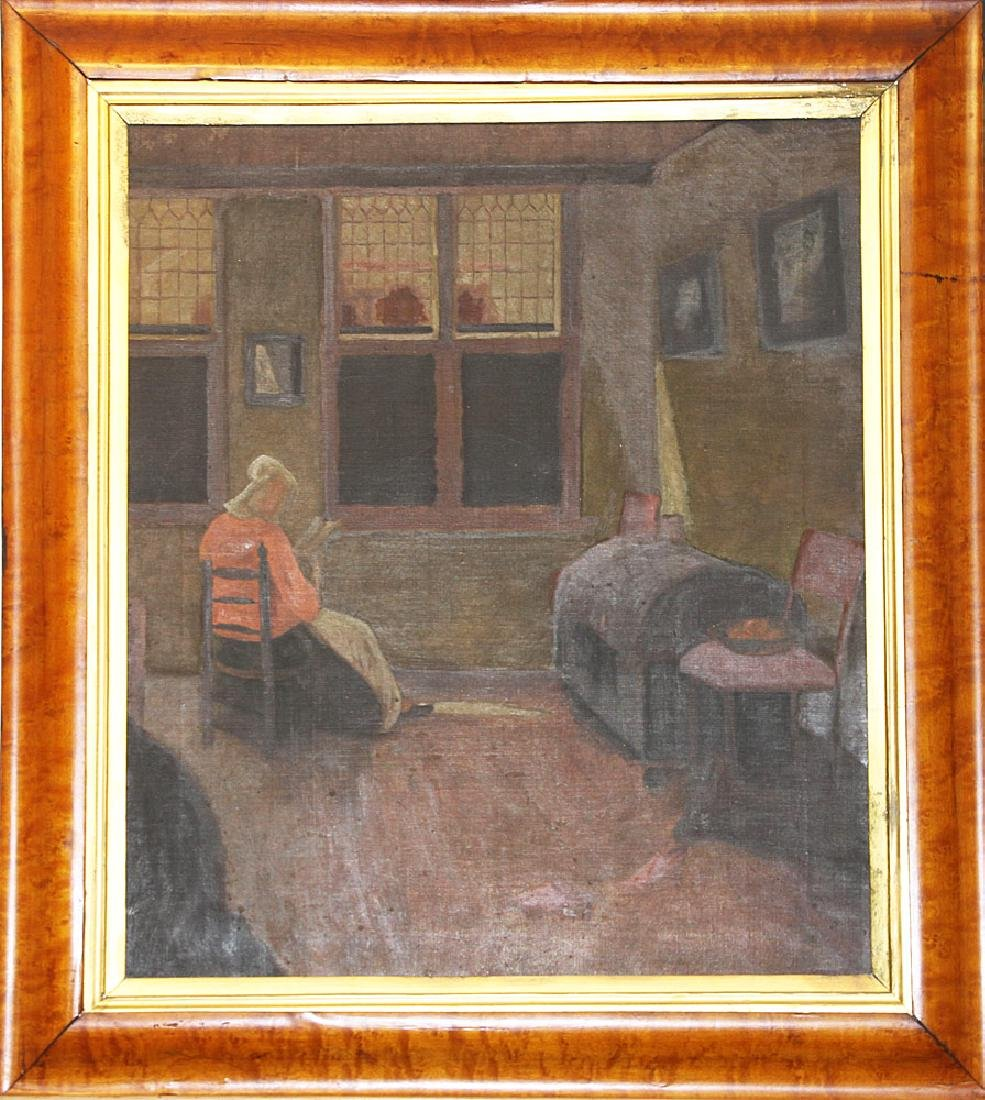 American School Oil on Canvas, Interior Scene