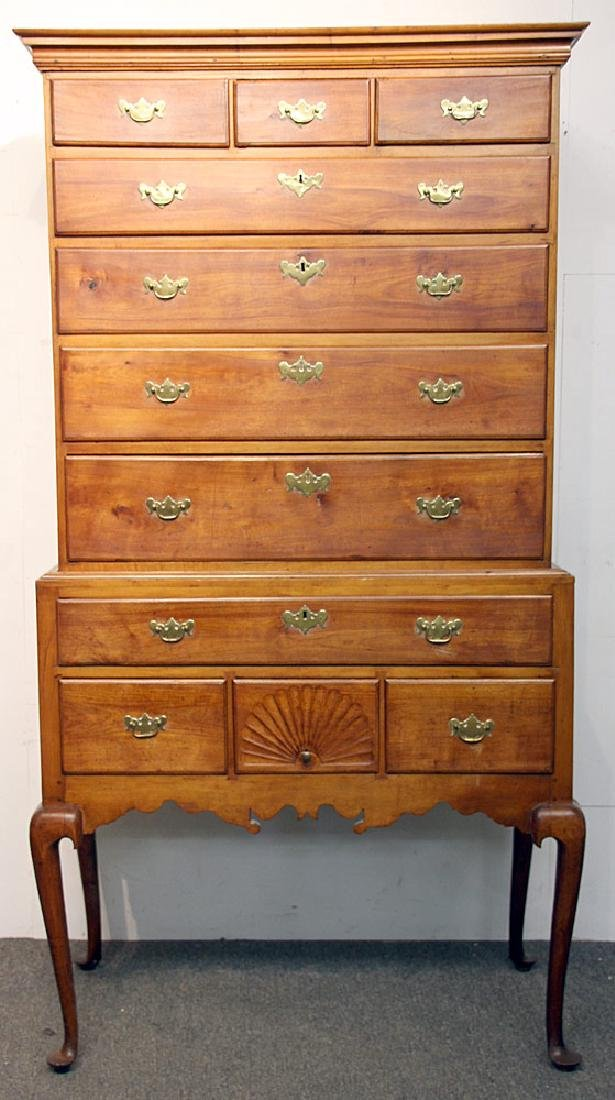Queen Anne Cherry Flat-top Highboy