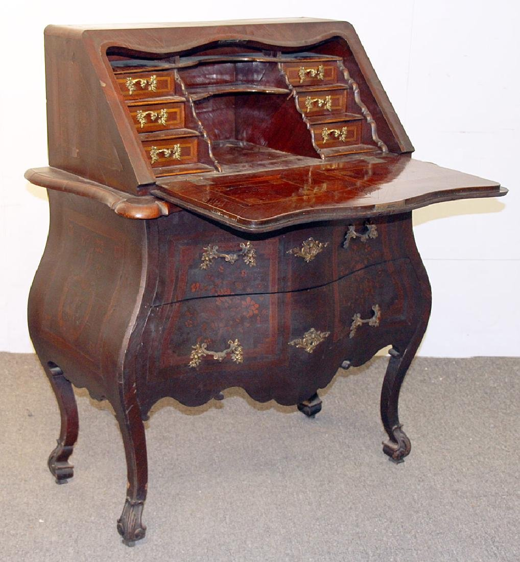 Continental Marquetry Bombe Desk - 2
