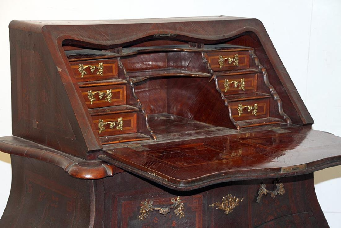 Continental Marquetry Bombe Desk - 3