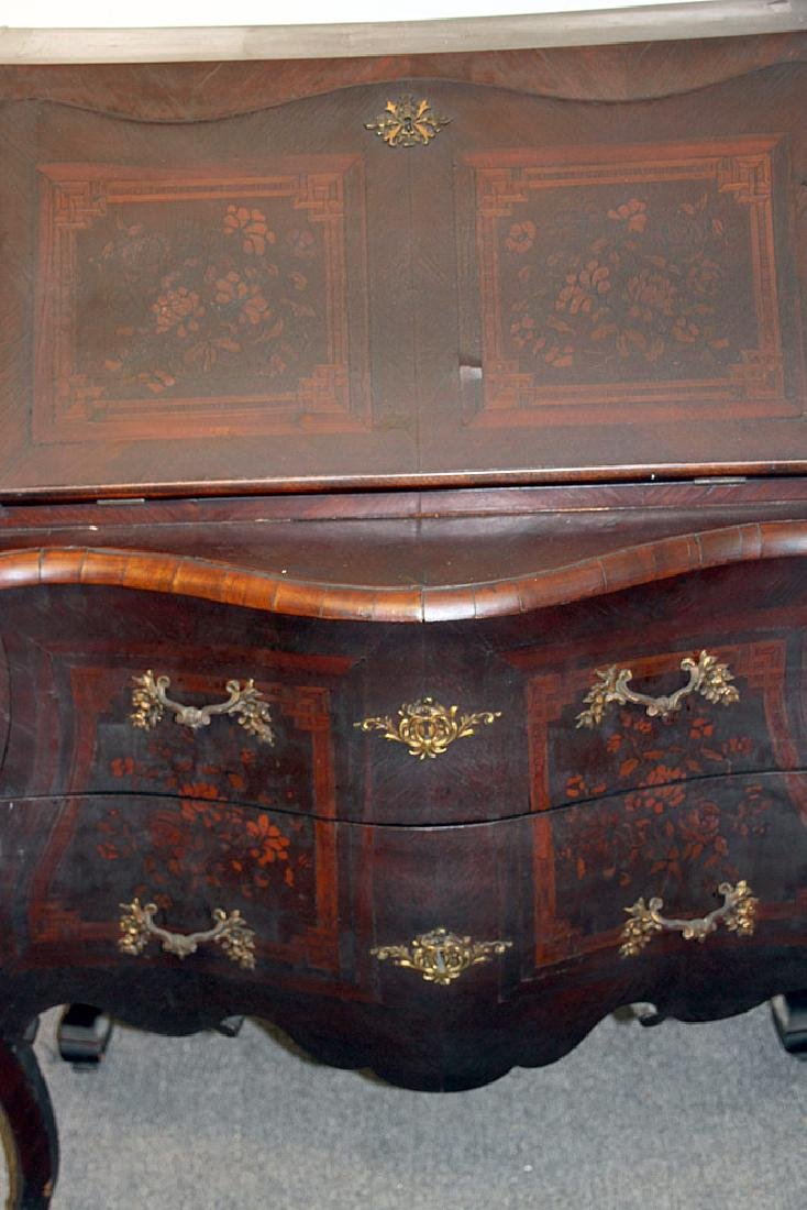 Continental Marquetry Bombe Desk - 5