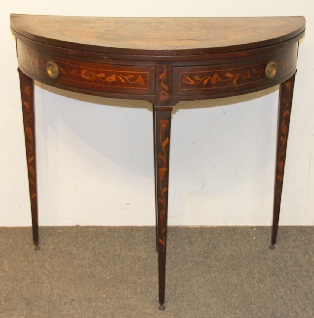 Italian Marquetry Inlaid Game Table