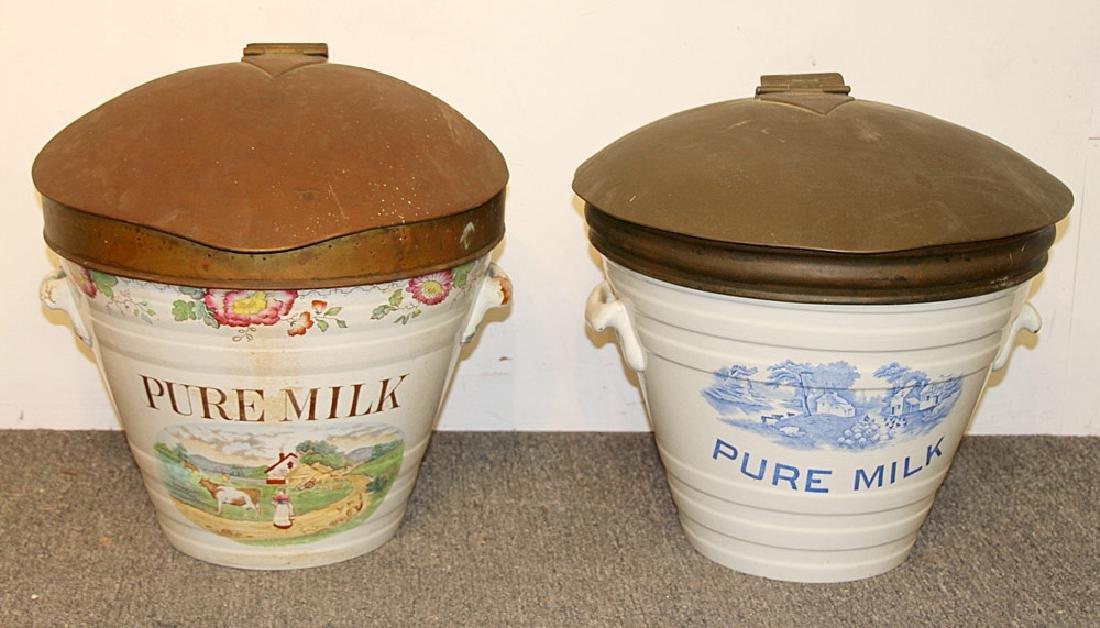 Two English Ironstone Milk Pails