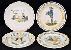 Four French Faience Pottery Plates