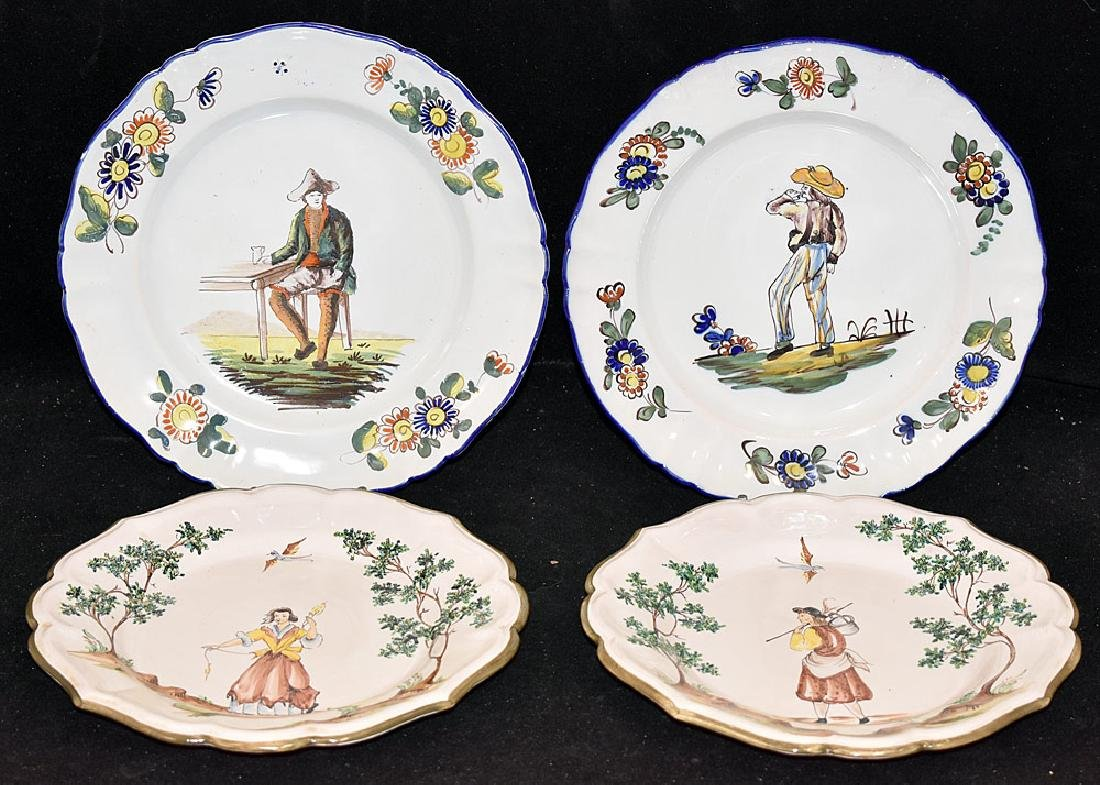 Four Continental Faience Pottery Plates