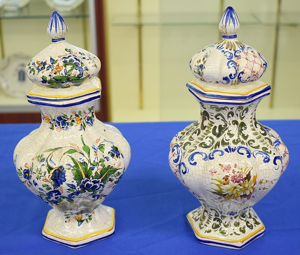 Pair of Faience Pottery Covered Urns