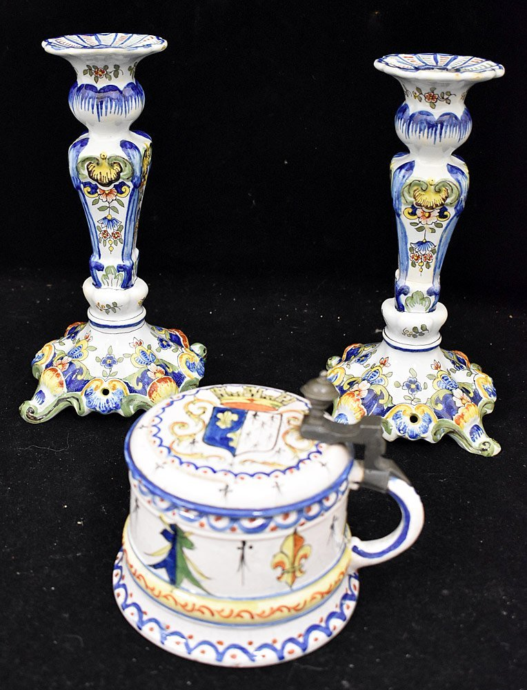 Three-piece Continental Faience Pottery Grouping