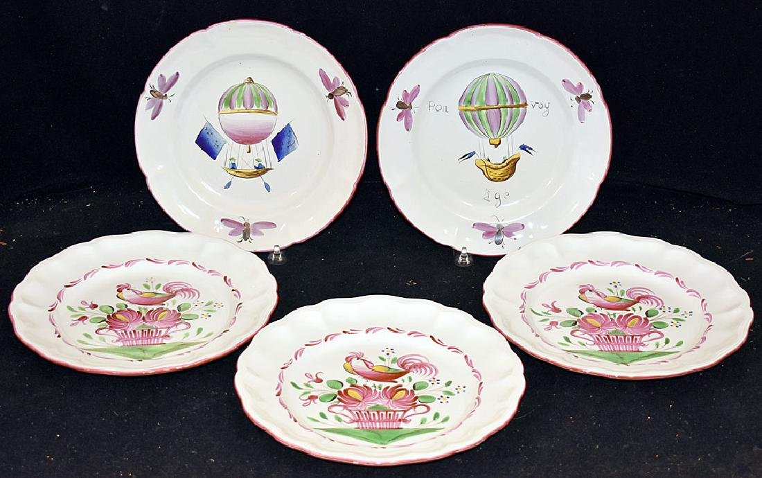 Five Continental Faience Pottery Plates