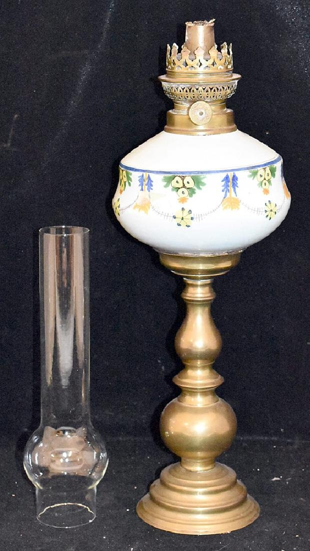 Continental Faience Pottery and Brass Oil Lamp