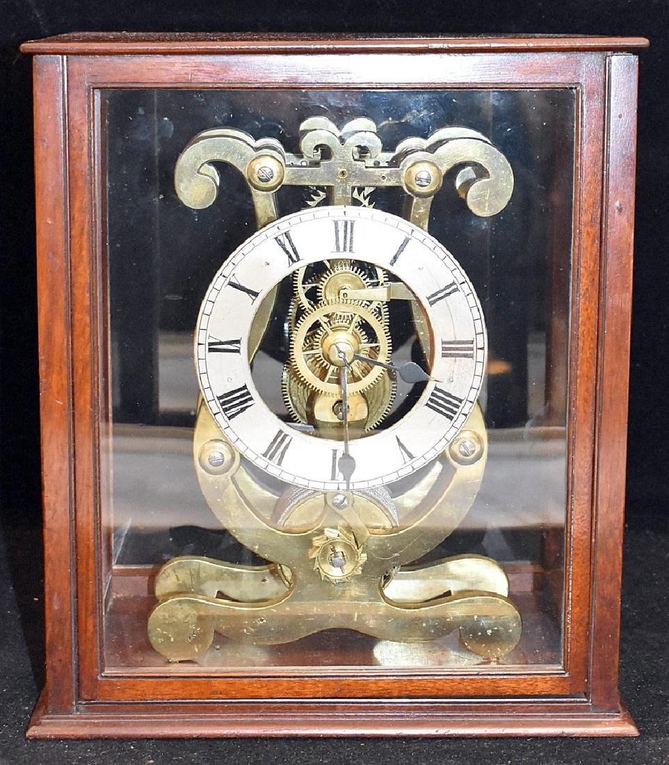 Lyre-form Brass Skeleton Clock