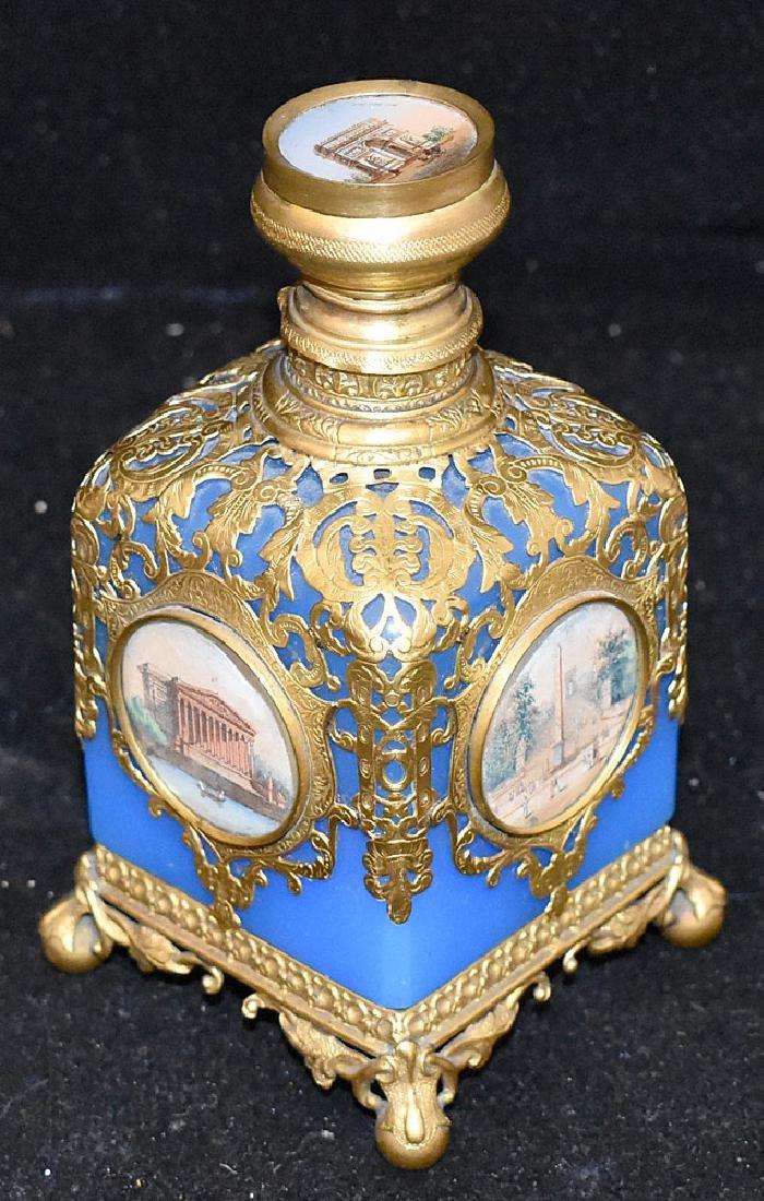 French Blue Opaline Glass & Brass Perfume Bottle