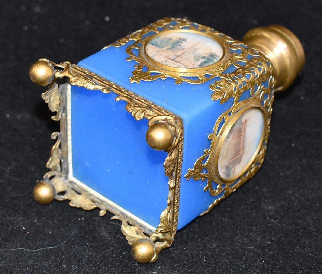 French Blue Opaline Glass & Brass Perfume Bottle - 3