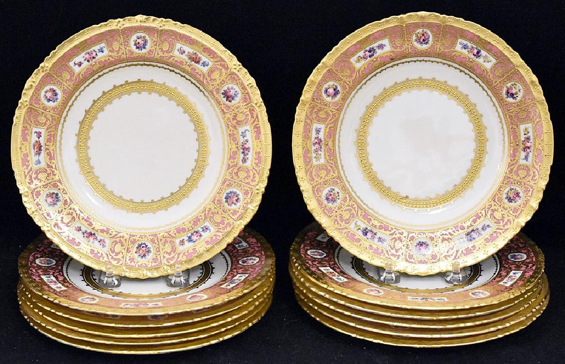 Twelve Royal Crown Derby Porcelain Plates