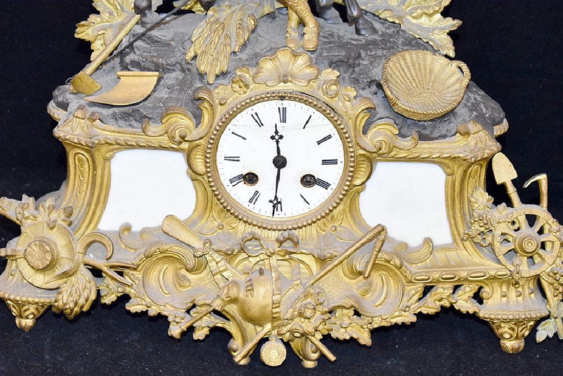 French Gilt and Patinated Bronze Mantle Clock - 2
