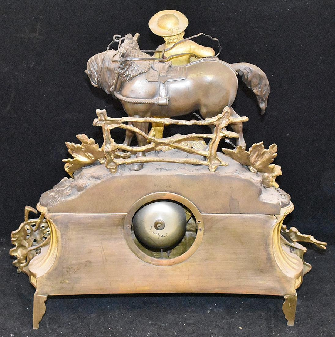 French Gilt and Patinated Bronze Mantle Clock - 3