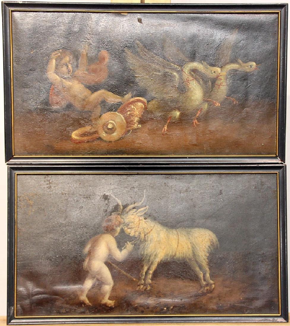 Pr. of Italian School Oils on Paper, Cherub Scenes