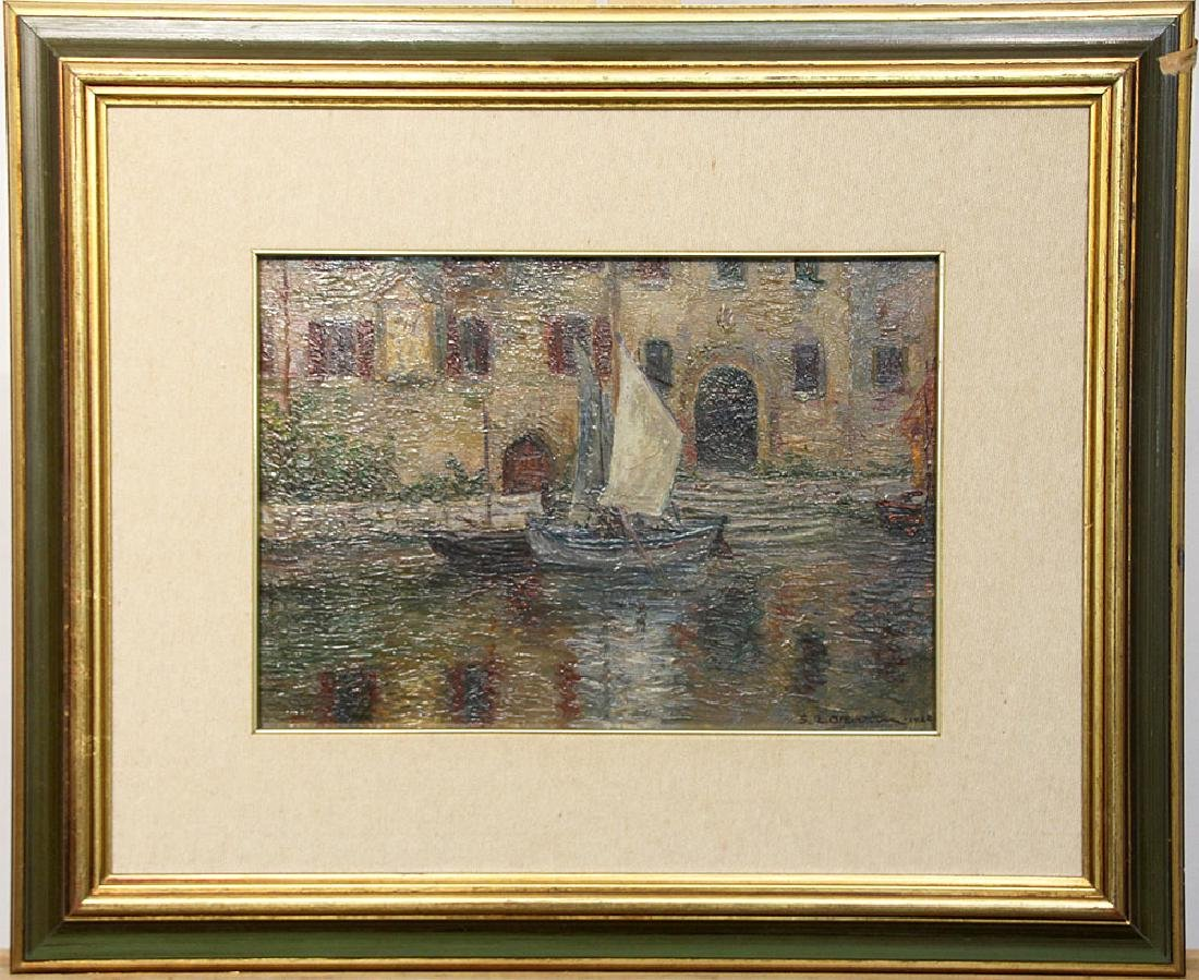 S.A. Albertini Oil on Board, Venetian Scene