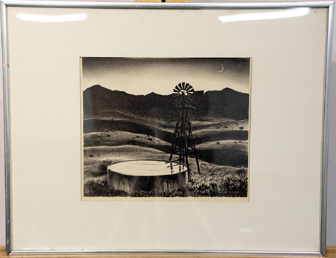 Peter Hurd Lithograph, Windmill Landscape