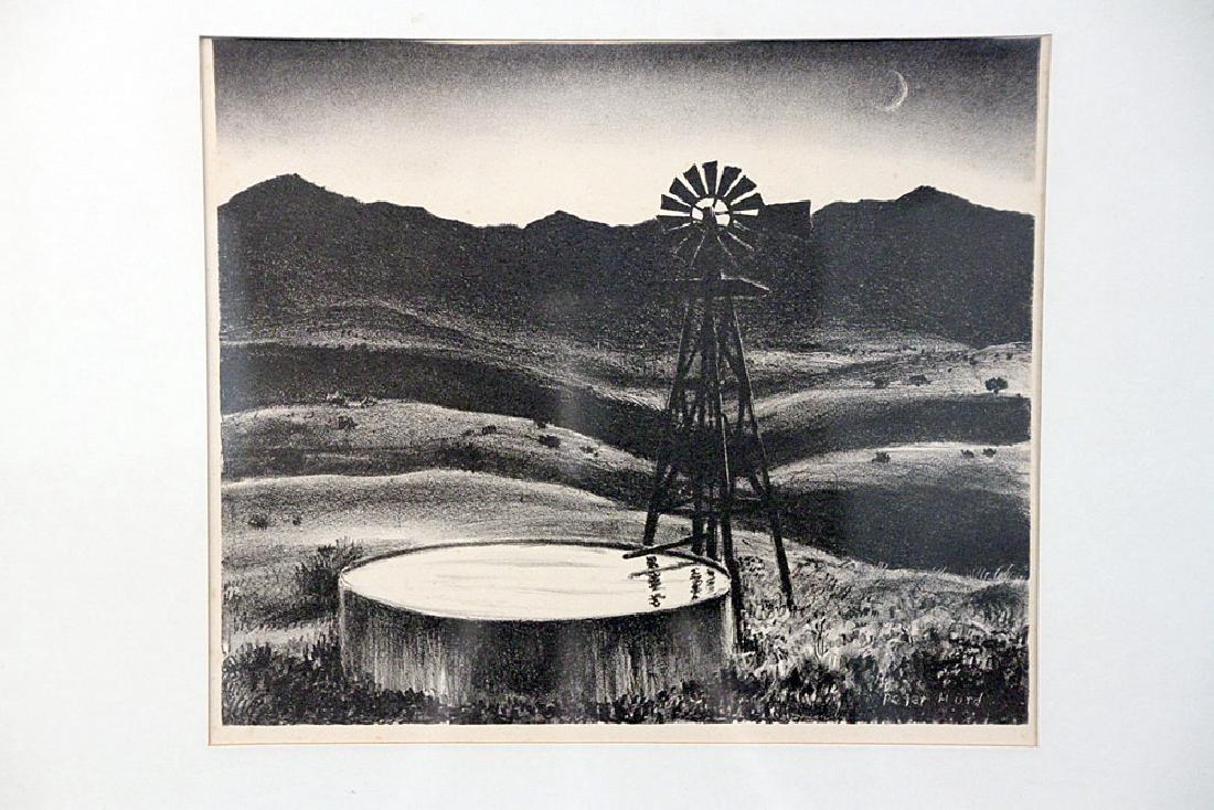 Peter Hurd Lithograph, Windmill Landscape - 2