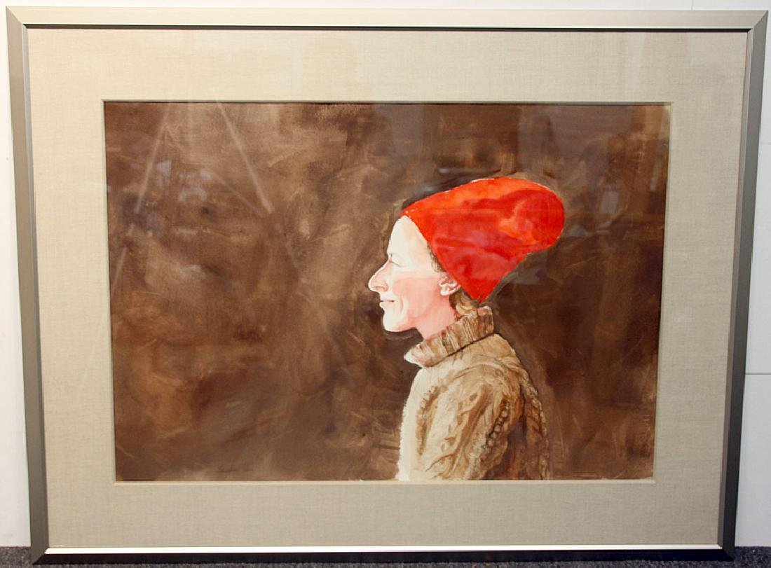 Sebastian Upson Watercolor, Woman with Red Hat