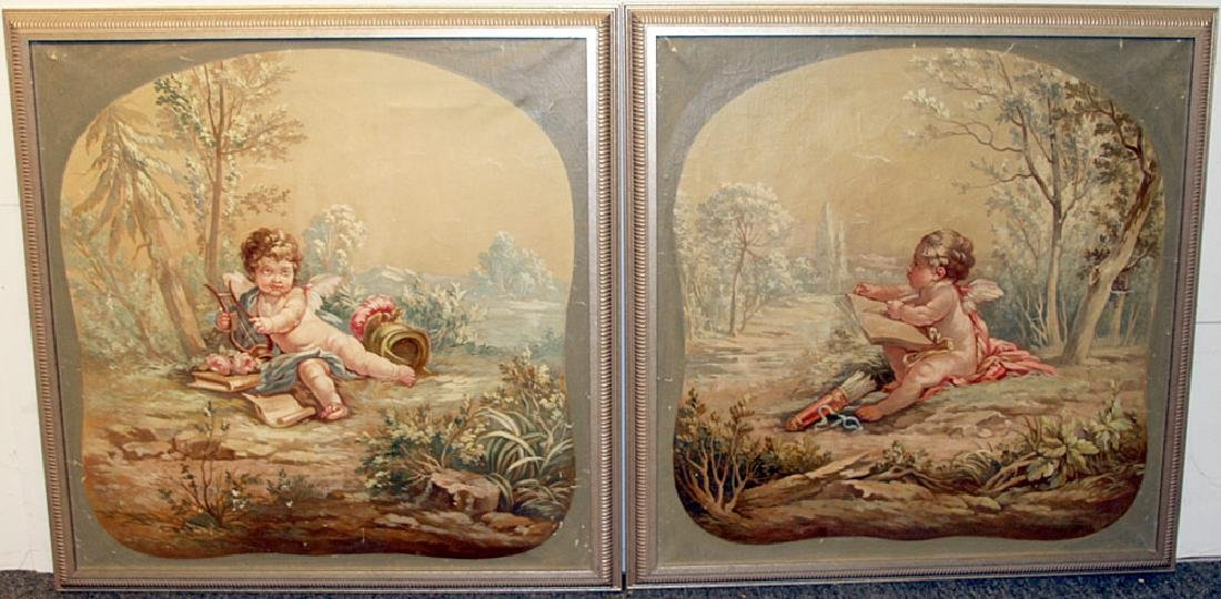 A Pair of French School Cherub Paintings