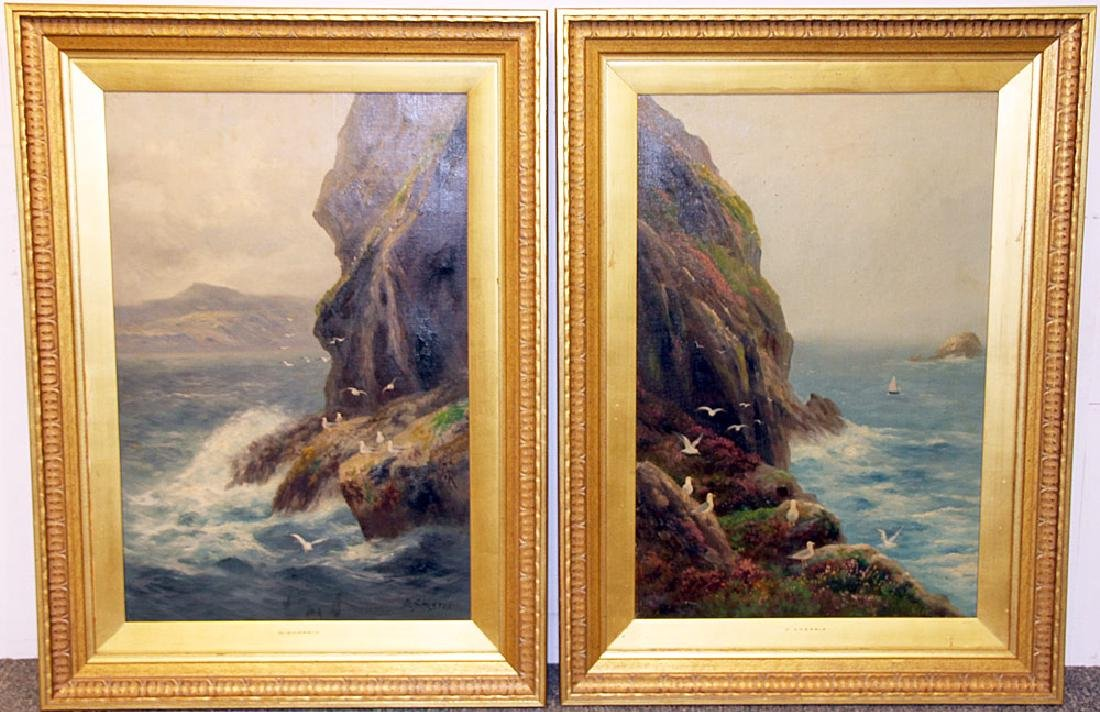 Pair of Daniel Sherrin Oil on Canvas Seascapes