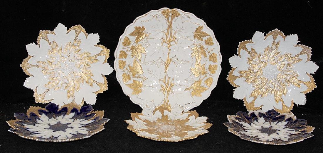 Six Meissen Leaf Plates