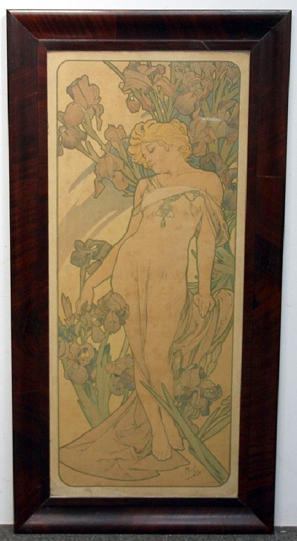 Alphonese Mucha Color Litho., Woman with Flowers