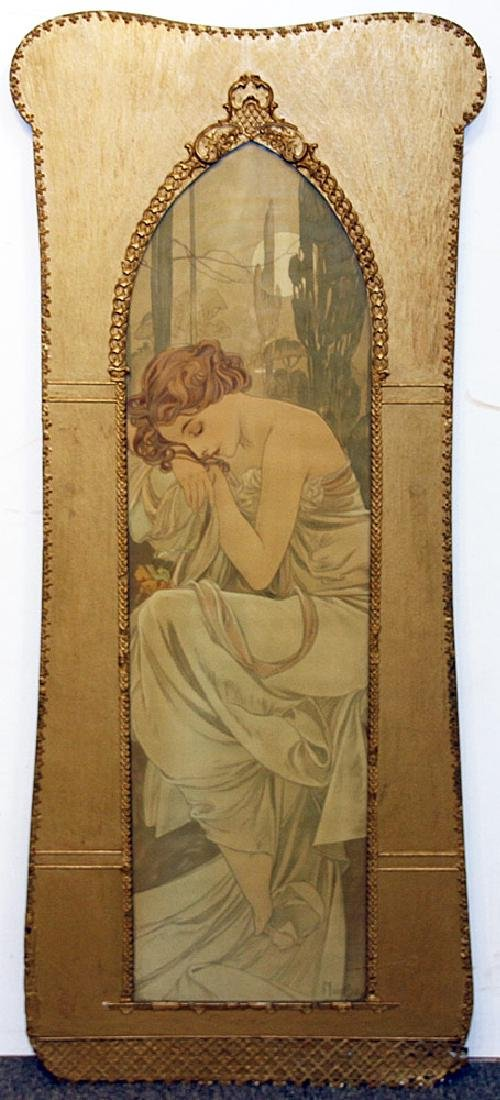 Alphonese Mucha Color Lithograph, Standing Woman