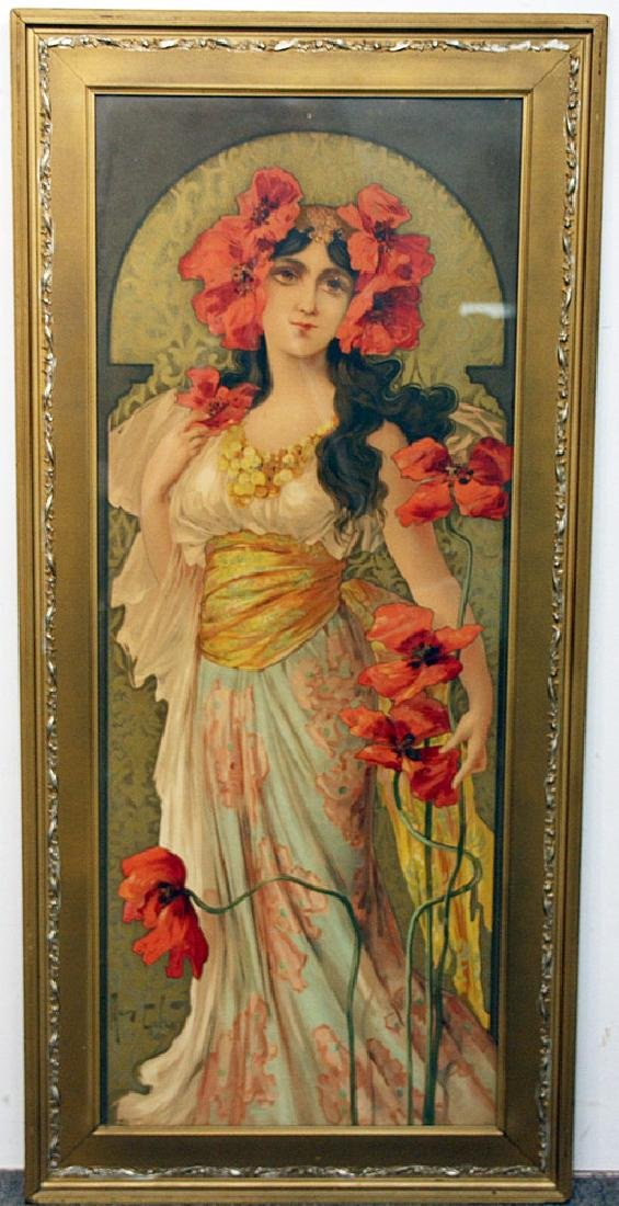 Mary Golay Color Lithograph, Woman with Flower