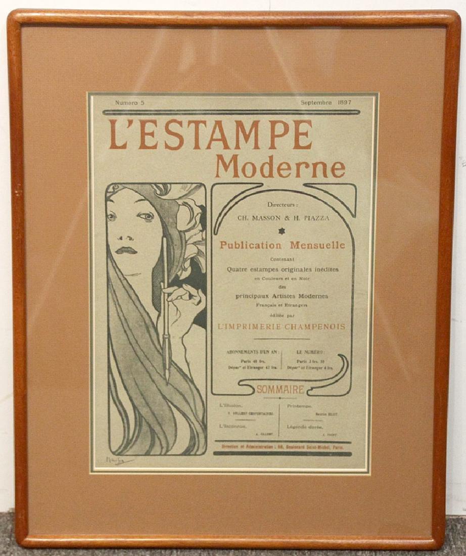 Alphonse Mucha Lithograph, L'Estampe Moderne