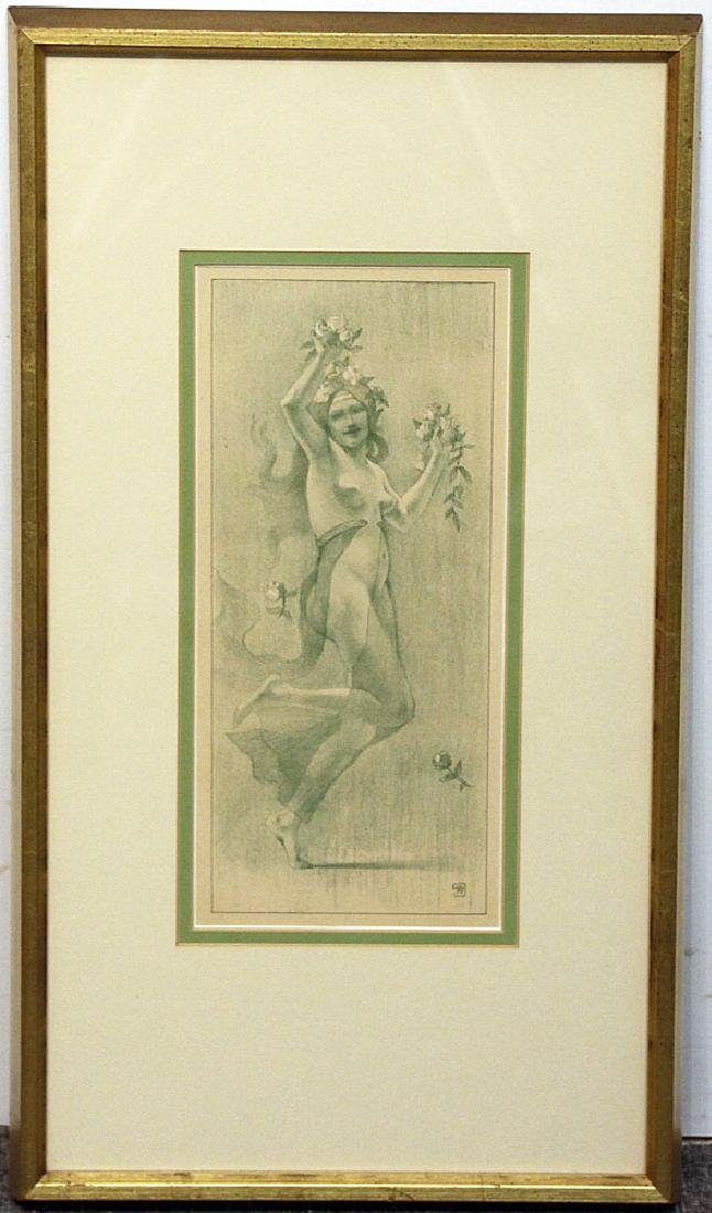 Art Nouveau Lithograph: Female Nude