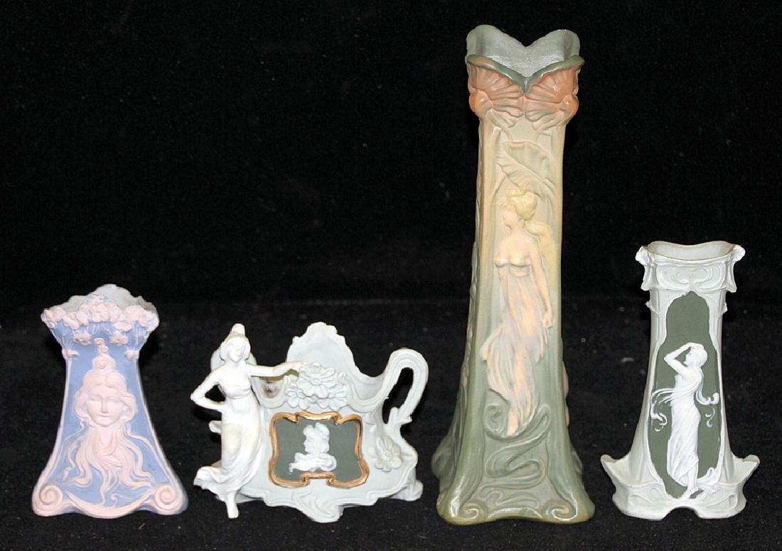 Four Art Nouveau Pottery Vases
