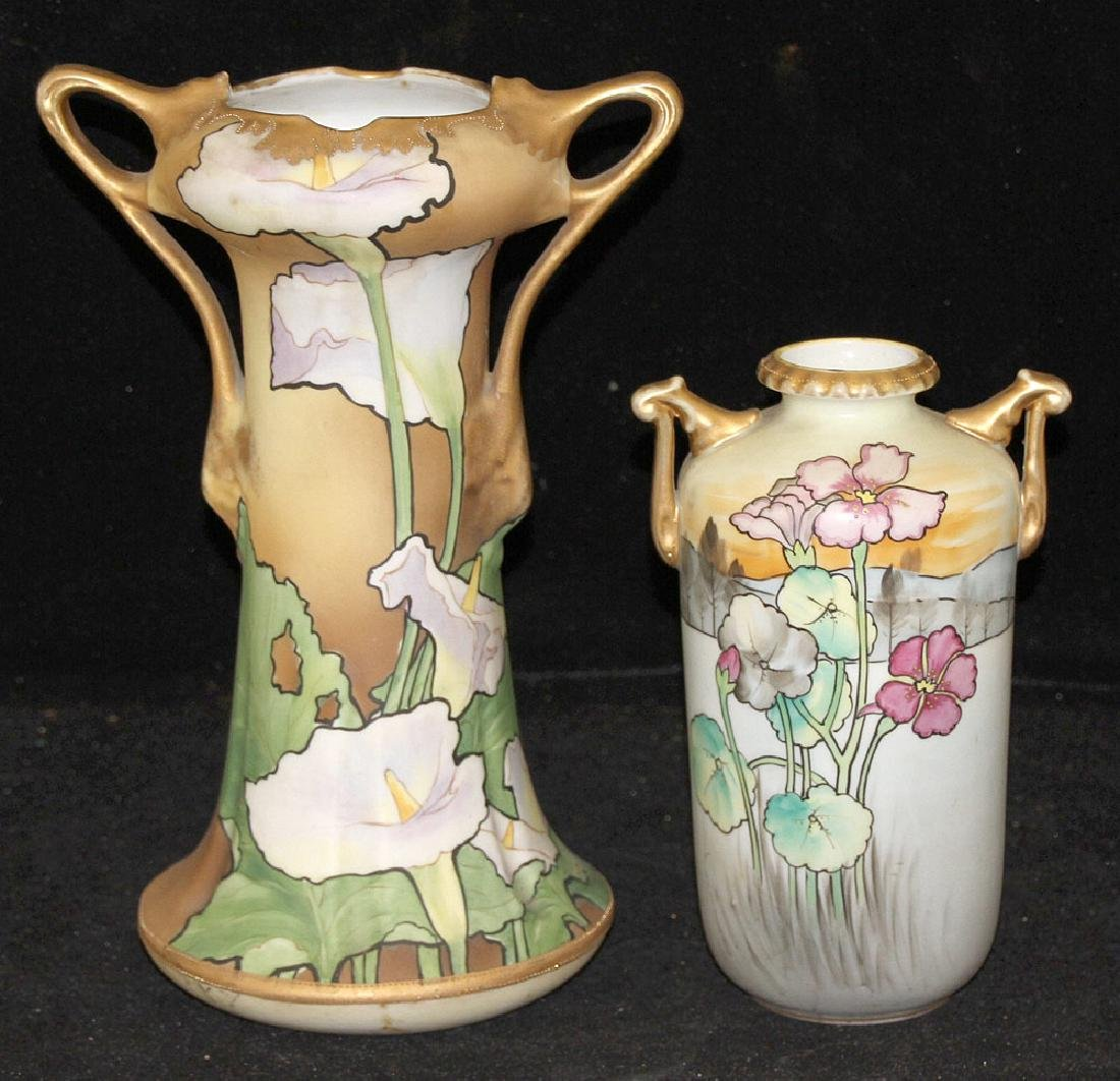 Two Nippon Art Nouveau Porcelain Vases