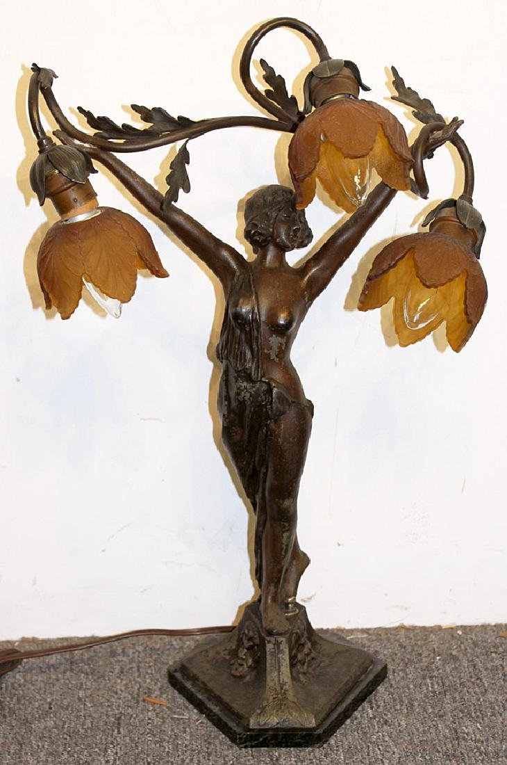 After Auguste Moreau Figural Table Lamp
