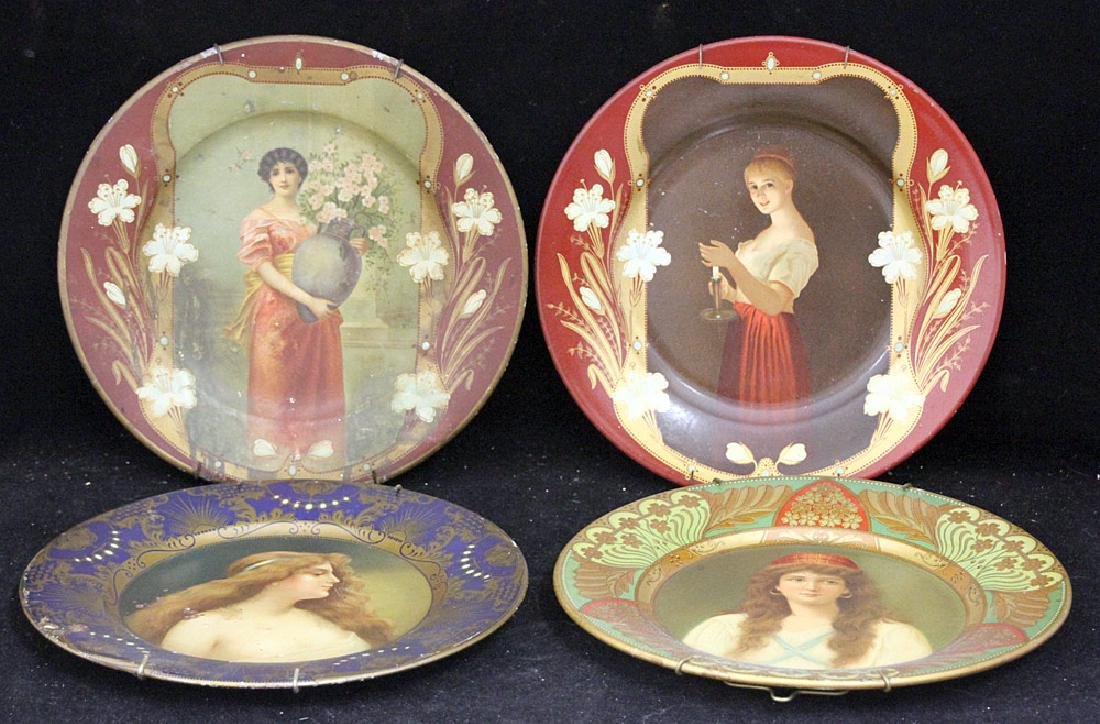 Four Tin Litho Art Plates