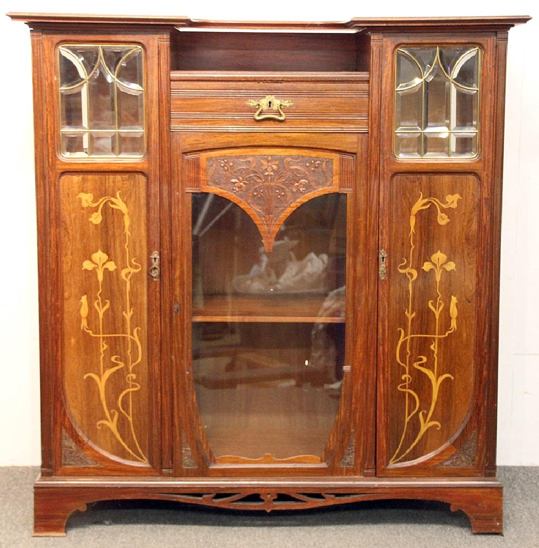 Art Nouveau Marquetry Inlaid Cabinet