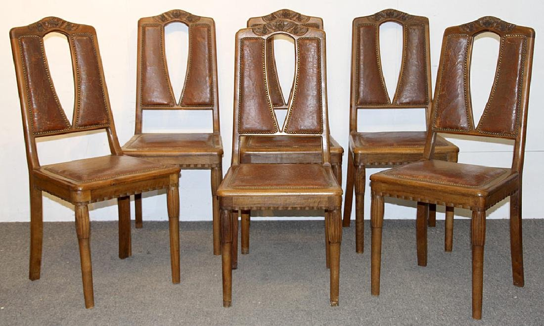 Art Nouveau Dining Table and Six Chairs