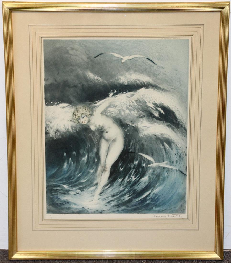 Louis Icart Etching, Venus in the Waves