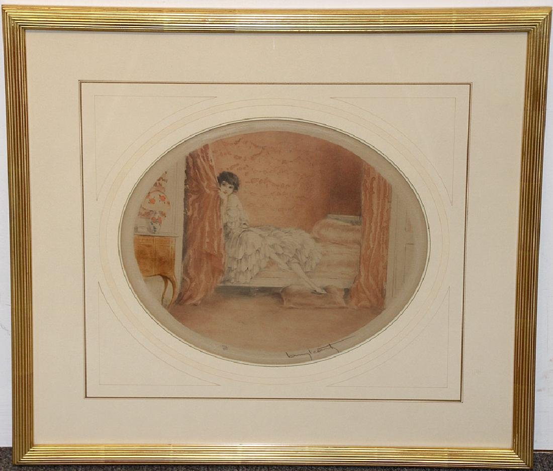 Louis Icart Etching, Pink Alcove