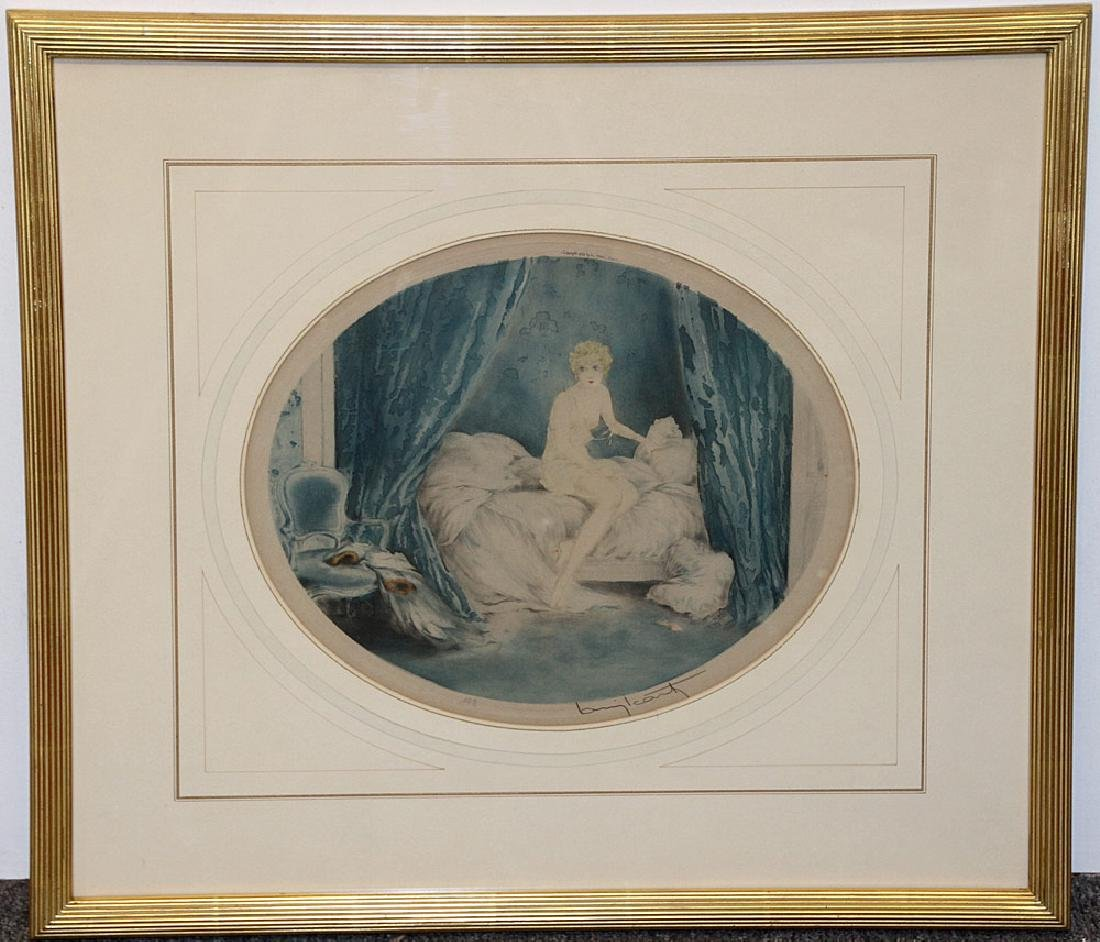 Louis Icart Etching, Blue Alcove